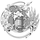 Wooden beer mug with a wreath of hops and ears of wheat ancient. Engraving vector illustration Stock Image