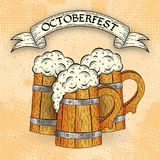 Wooden beer mugs in sketch style. On grunge background. Poster template. Octoberfest typographic design. Decoration usable as banner, cards, posters, label stock illustration