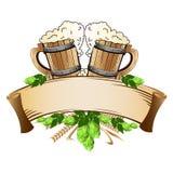 Wooden beer mugs still life Stock Photos