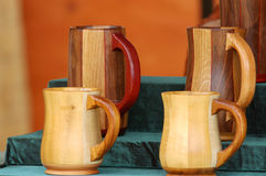 Wooden Beer Stiens. Handcrafted wooden beer mugs as used by the peasents  during the renaissance period Stock Photo