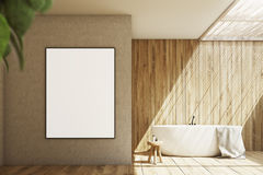 Wooden and beige bathroom, poster Royalty Free Stock Photos