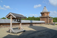 Wooden belfry and watchtower in the territory of the Sacred and Troitsk Trifonov-Pechengsky man's monastery Royalty Free Stock Image