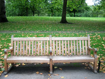 Wooden bench. In autumn Royalty Free Stock Photo