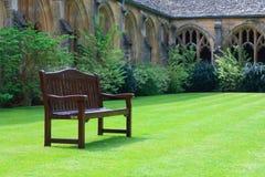 Wooden bench. In quiet garden Stock Photography