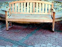 Wooden Bench. Taken in courtyard of mall Nappa Valley Ca royalty free stock image