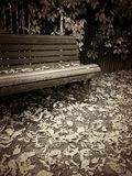 Vintage style sepia toned image of bench in autumn park Royalty Free Stock Images