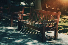Wooden bench in Barcelona park royalty free stock images