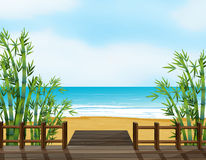 A wooden bench on a beach Royalty Free Stock Image