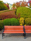 Wooden bench at a beautiful autumn garden Royalty Free Stock Image