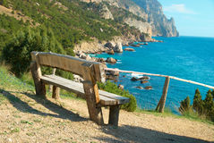 Bench with seaside view Stock Photography