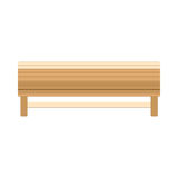 Wooden Bench Benches Vector Flat View Icon Design Outdoor On White
