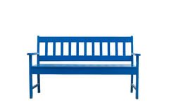 Wooden bench. Blue wooden bench Isolate on white royalty free stock photography
