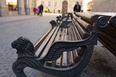 Wooden bench in the central part of Lviv. Ukraine Royalty Free Stock Photo