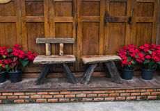 Wooden bench with christmas star. Wooden bench with christmas star,Thailand Stock Photo