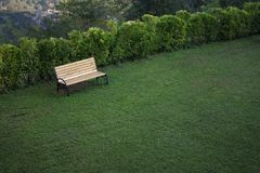 Wooden bench in the city park.  stock images
