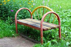 Wooden bench in the city park Royalty Free Stock Images
