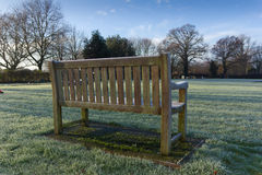 Wooden Bench in Countryside Memorial Garden Royalty Free Stock Photo