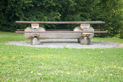 A wooden bench in the countryside Royalty Free Stock Image