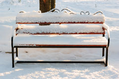Wooden bench covered by snow in winter park. Stock Photos