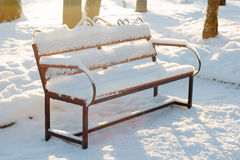 Wooden bench covered by snow in winter park. Stock Images