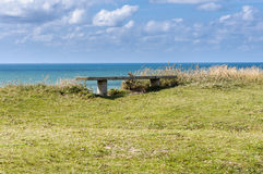 Wooden bench. Danmark coastline with wooden bench Royalty Free Stock Photos