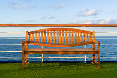 Wooden Bench on the Deck of a Cruise Ship Stock Photography