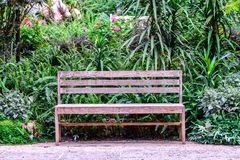 Wooden bench among the flower garden.  Royalty Free Stock Photo