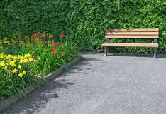 Wooden bench in the flowering garden Royalty Free Stock Photography