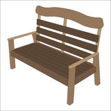 Wooden bench front 3d view . Exterior Features Royalty Free Stock Image