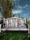 Wooden bench in a garden Stock Image