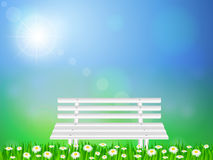 Wooden bench on grass Royalty Free Stock Images