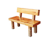 Wooden bench isolated by hand made with clipping path. Stock Photos