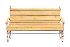 Wooden bench isolated on white. (with clipping path royalty free stock photos