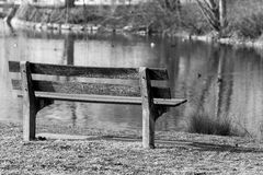 Wooden bench by lake Stock Image