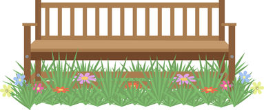 Wooden bench on the lawn with flowers Stock Photos