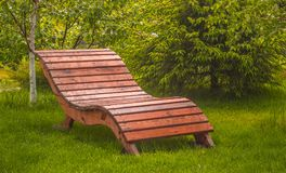 Wooden bench on a lawn with green grass Royalty Free Stock Image