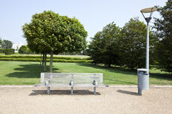 Wooden bench in London Park Stock Images