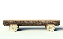 Wooden bench made of tree trunks Royalty Free Stock Image