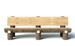 Wooden bench made of tree trunks Stock Photo