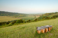 Wooden Bench in the North Downs Royalty Free Stock Photos