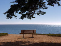 Wooden bench at the ocean. A wooden bench on the cliff overlooking the ocean. Perfect blue sky and a cypress branch above. At Santa Cruz California Stock Photos