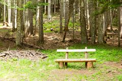 Wooden bench outddor Stock Image