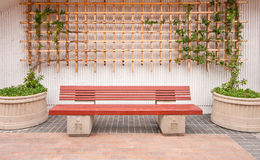 Wooden Bench With Outside Decor Royalty Free Stock Photography