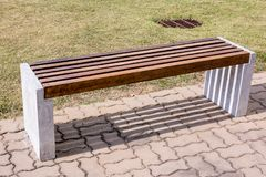 Wood bench in the park. Wooden bench in the park background royalty free stock images