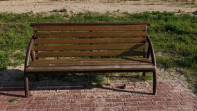 Wooden bench in the park. Wooden bench in the park stock video footage