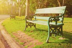 Wooden bench in the park Stock Image