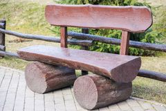Wooden bench in park Stock Image