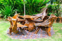 Wooden bench in the park. Wooden bench in the living areas Royalty Free Stock Image