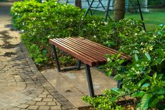 Wooden bench in the park at night with green tree surrounding Royalty Free Stock Photos