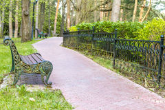 Wooden bench in park, Stock Photo